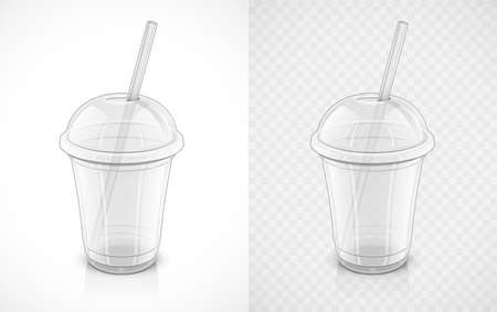 Transparent plastic cup. Fast-food pack for drink with pipe. Mug for juice, water, coffee, tea, smoothie. Recycling utensils. Isolated white background. EPS10 vector illustration. Illustration