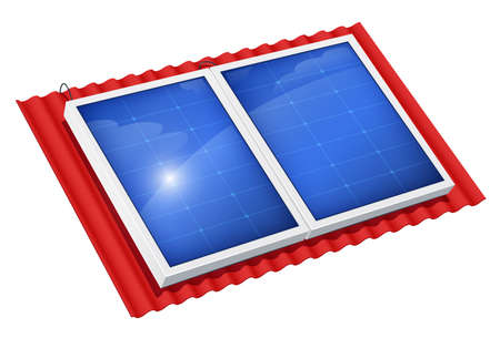 Solar panel for alternative energy. Roof Eco system. Isolated white background. Sun Technology. Green Electricity. Innovation technologies. Energy saving device. EPS10 vector illustration. 向量圖像