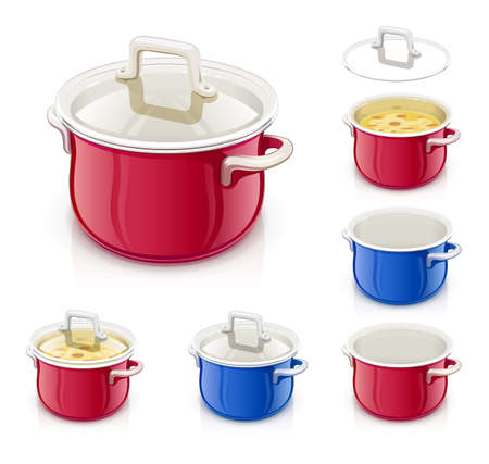 Red and blue saucepan with lid. Kitchen tableware. Prepare food. Cooking meal. Kitchenware tool. Utensil equipment. Cook Pan. Realistic Pot. Iron Kettle for saup. Isolated white background. EPS10 vector illustration.