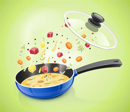 Blue pan with lid. Kitchen tableware. Cooking food. Prepare meal. Kitchenware tool. Utensil equipment. Cook Pan. Realistic Pot. Iron Kettle for soup. Isolated white background. EPS10 vector illustration. Çizim