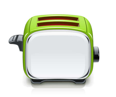 Green Toaster. Kitchen equipment for roast bread. Cooking food. Cook meal. Metallic utensil. Isolated white background. Electric barbecue tool. Vector illustration.