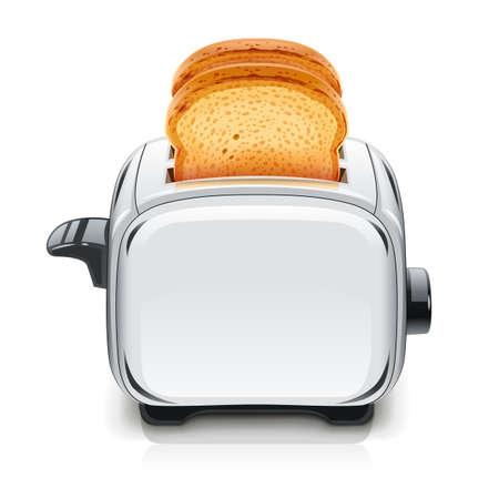 Metallic Toaster. Isolated white background.  イラスト・ベクター素材