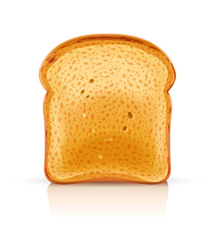Bread toast for sandwich piece of roasted crouton. Lunch, dinner, breakfast snack. Isolated white background. EPS10 vector illustration. Фото со стока - 100225981