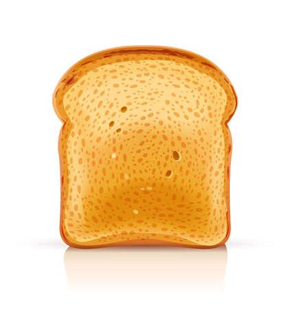 Tostada de pan para sándwich trozo de crutón asado. Almuerzo, cena, merienda desayuno. Fondo blanco aislado. Ilustración de vector Eps10.