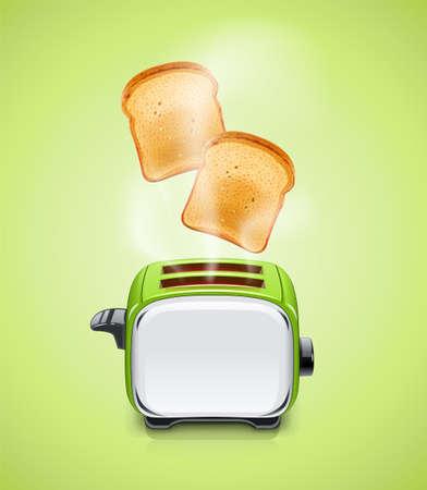 Groene Broodrooster. Keukenapparatuur voor geroosterd brood. Eten koken. Maaltijd koken. Metalen gebruiksvoorwerp. Geïsoleerde witte achtergrond. Elektrisch barbecuegereedschap. Eps10 vectorillustratie.