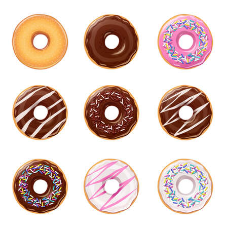 Set of colorful donuts isolated on white background. Illustration