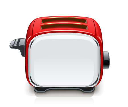 Red Toaster. Kitchen equipment for roast bread. Cooking food. Cook meal. Metallic utensil. Isolated white background. Electric barbecue tool.