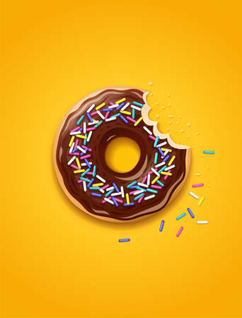 Donut with sprinkles vector illustration
