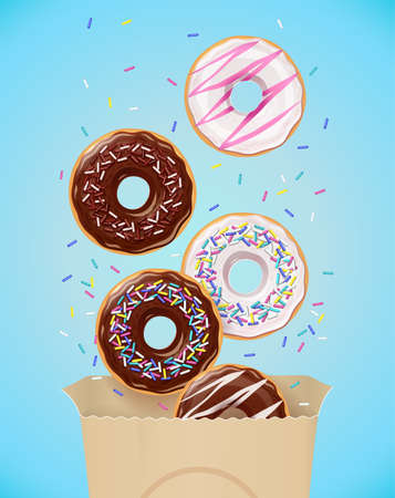 Donuts. Set of american sweets desserts in paper package. Chocolate, glaze covered, pink fast-food sweet dessert. Traditional breakfast and lunch. Candy food. Isolated white background. EPS10 vector illustration. Ilustração