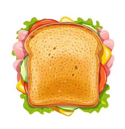 Emparedado. Pan frito con pepino, tocino, tomate, queso, lechuga. Almuerzo vegetariano de comida rápida. Pan y mantequilla para el desayuno. Cena comida orgánica. Snack delicioso. Fondo blanco aislado. Cocine los alimentos. Ilustración de vector Eps10. Ilustración de vector