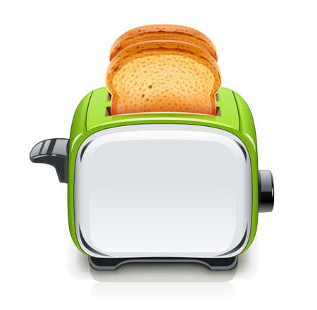 Green Toaster. Kitchen equipment for roast bread. Cooking food. Cook meal. Metallic utensil. Isolated white background. Electric barbecue tool. EPS10 vector illustration. Vettoriali