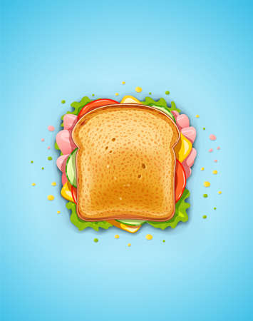 Sandwich. Fried bread with cucumber, bacon, tomato, cheese, lettuce. Vegetarian Fast food lunch. Bread and butter for breakfast. Supper organic meal. Delicious Snack. Cook food. EPS10 vector illustration.