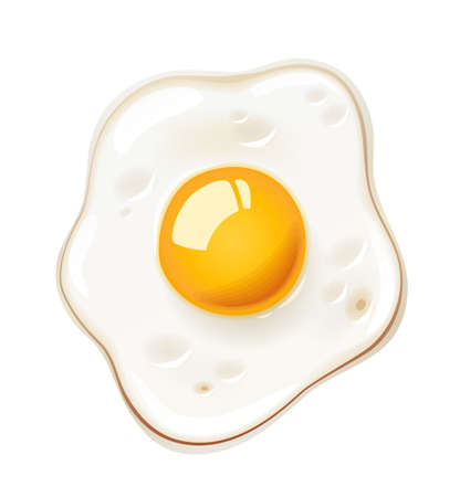 Fried egg. Fast food. Cooking lunch, dinner, breakfast. Natural product. Cooked omelet. Scrambled eggs. Isolated white background. Illustration