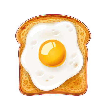 Sandwich with Fried egg. Fast food. Cooking lunch, dinner, breakfast. Natural product. Cooked omelet. Scrambled eggs. Isolated white background. EPS10 vector illustration. Stock Illustratie