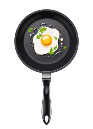 Pan with fried egg vector illustration