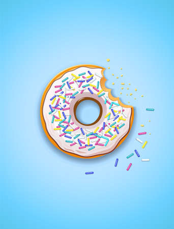 Donuts. American sweet dessert. Glaze covered, fast-food sweets desserts. Traditional breakfast and lunch. Candy food. EPS10 vector illustration.