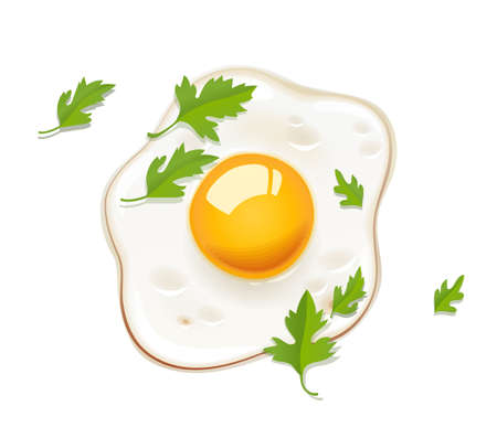 Fried egg. Fast food. Cooking lunch, dinner, breakfast. Natural product. Cooked omelet. Scrambled eggs. Isolated white background. Vector illustration.
