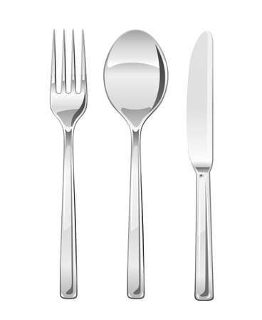 Fork, spoon, knife. Set of utensils for eating. Food dishes. Stainless tableware. Kitchen equipment. Cooking tools. Serving. Isolated white background. EPS10 vector illustration.