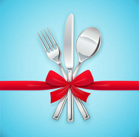 Fork, spoon, knife with red bow. Set of utensils for eating. Food dishes. Stainless tableware. Kitchen equipment. Cooking tools. Serving. Blue background vector illustration.
