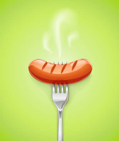 Grilled sausage at fork. Meat food. Grill frankfurter. Fried foodstuff. Green background.