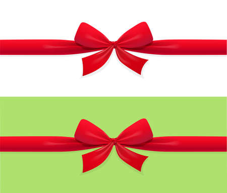 Red bow and ribbon decoration for gift. Holiday accessory. Isolated white background. EPS10 vector illustration.