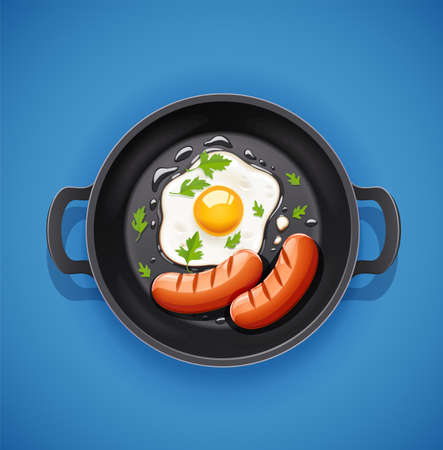Grilled egg and sausage in a frying pan.