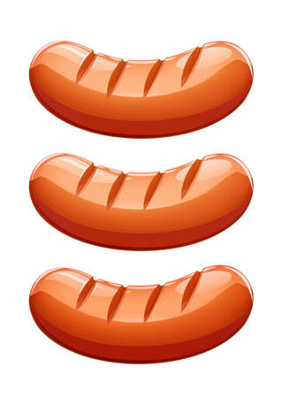 Grilled sausage. Meat food. Grill frankfurter. Fried foodstuff. Isolated white background. EPS10 vector illustration.