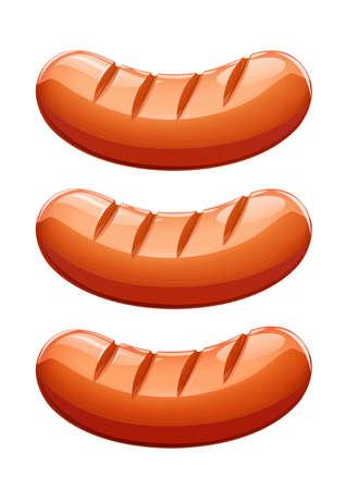 Grilled sausage. Meat food. Grill frankfurter. Fried foodstuff. Isolated white background. EPS10 vector illustration. Illustration