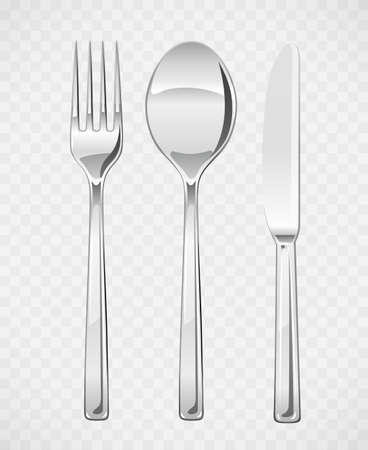 Fork, spoon, knife. Set of utensils for eating. Food dishes. Stainless tableware. Kitchen equipment. Cooking tools. Serving. EPS10 vector illustration.