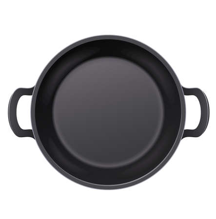 Pan for frying food. Cooking meal. Top view. Metallic utensil for fry-up. Roast meals. Cook tools. Fry foodstuff. Fast foods. Isolated white background.