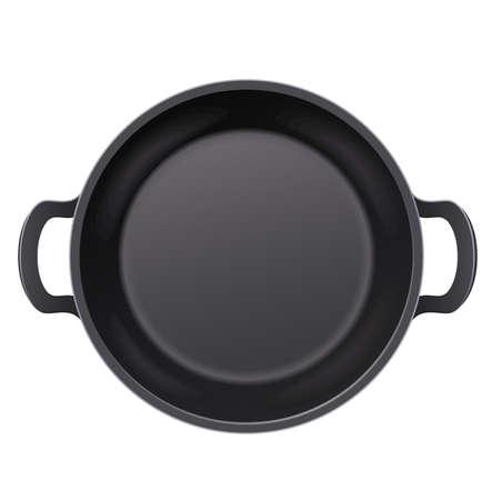 Pan om voedsel in te bakken. Maaltijd koken. Bovenaanzicht. Metalen keukengerei om mee te bakken. Gebraden maaltijden. Cook tools. Bak voedsel. Snel voedsel. Geïsoleerde witte achtergrond.
