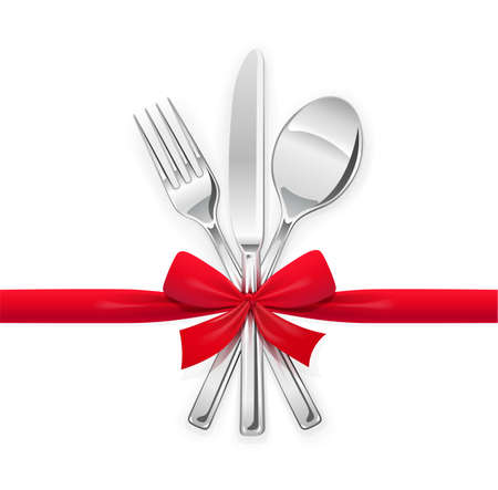 Fork, spoon, knife with red bow. Set of utensils for eating. Food dishes. Stainless tableware. Kitchen equipment. Cooking tools. Serving. Isolated white background.