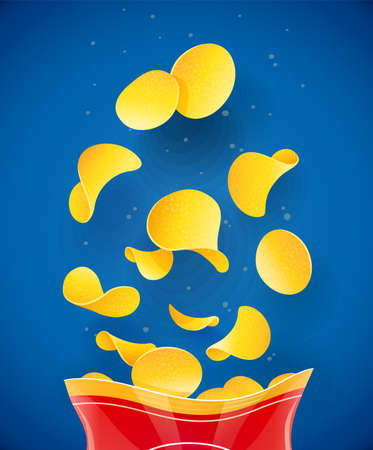 Potatoes chips. Fast-food in packaging. Fried potato snack. Vegetable meal. Food concept. Realistic delicious. Blue background. EPS10 vector illustration.
