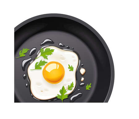 Pan with fried egg. Cooking foods. Scrambled eggs. Top view. Metallic utensil for frying. Roast meal. Cook tools. Fry product. Eggs Omelette. Fast food. Isolated white background. EPS10 vector illustration.