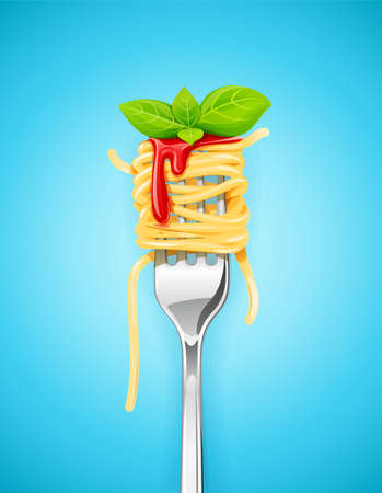 Spaghetti at fork with basil and sauce. Pasta. Organic meal. Traditional italian food. Natural eating. Cooking lunch. Macaroni design. Blue background. EPS10 vector illustration.
