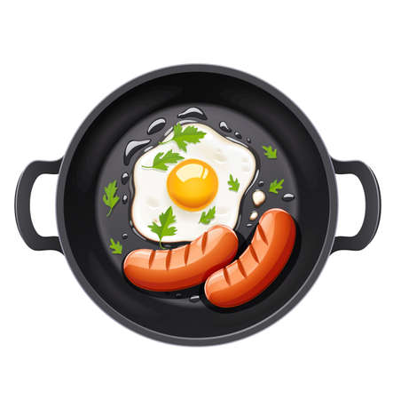 Grilled egg and sausage at frying pan. Picnic grill. Cooking food. Roast barbecue. B-B-Q foodstuff. Fry product. Isolated on white background. Cooked meal. EPS10 vector illustration.