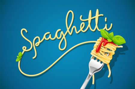 Spaghetti at fork with basil and sauce. Pasta. Organic meal. Traditional italian food. Natural eating. Cooking lunch. Concept Macaroni design. Blue background. EPS10 vector illustration.