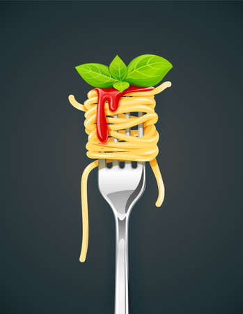Spaghetti at fork with basil and sauce. Pasta. Organic meal. Traditional italian food. Natural eating. Cooking lunch. Macaroni design. Dark background. vector illustration.