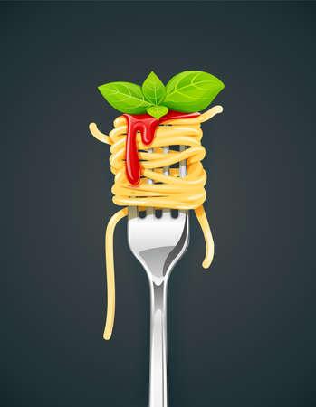 Spaghetti bij vork met basilicum en saus. Pasta. Biologische maaltijd. Traditioneel Italiaans eten. Natuurlijk eten. Lunch koken. Macaroni-ontwerp. Donkere achtergrond. vector illustratie.