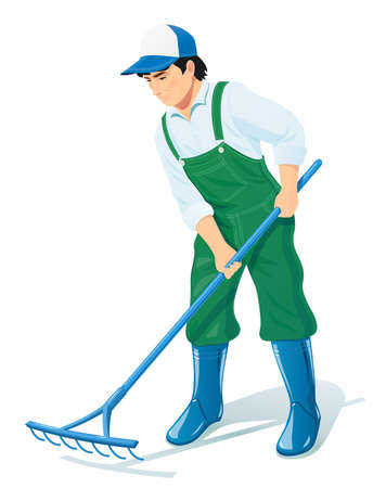 Garden worker with rake. Gardening occupation. Agriculture cleaning. Human character. Isolated white background. EPS10 vector illustration.