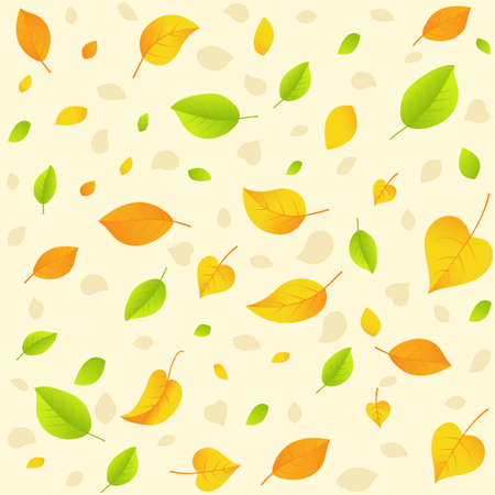 Autumn leaf. Seamless pattern. Fall leaves. Season weather. Autumnal texture. Isolated white background. EPS10 vector illustration.