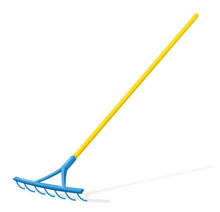 Rake. Garden tool. Cleaning equipment. Agricultural implement. Isolated white background. vector illustration.