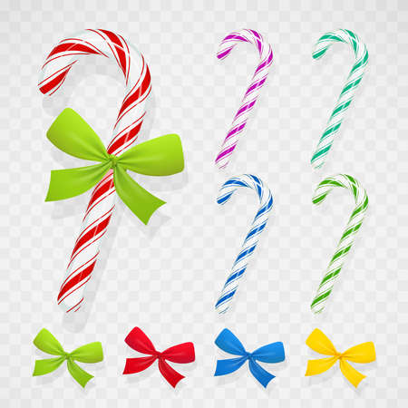 Tasty lollipop with bow for birthday and christmas holiday. Set of Candy gift for celebration. Sweet dessert. Xmas food decoration. vector illustration. Banque d'images - 101976533