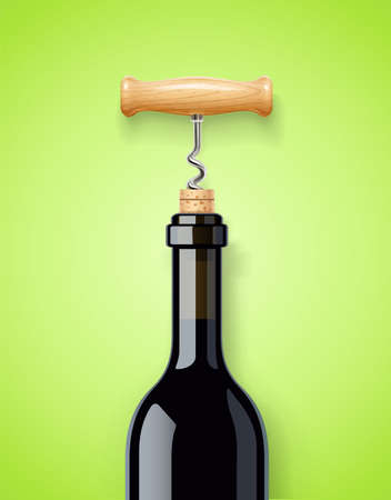 Wine bottle with bottle-screw and cork. EPS10 vector illustration.