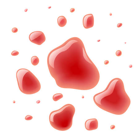 Red wine splash. Bloody spots. Blood scarlet drop. Fluid splashes. Isolated white background. EPS10 vector illustration. 向量圖像