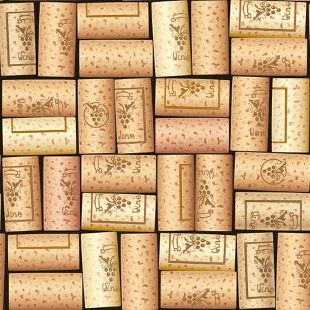 Bouchon de bouteille de vin. Robinet en bois. Modèle sans couture. Conception pour charrette à vins. Collection sommelier. Illustration vectorielle EPS10.