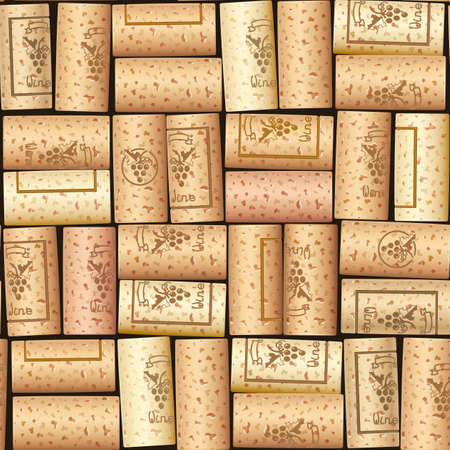 Wijnfles kurk. Houten kraan. Naadloze patroon. Ontwerp voor wijnkar. Sommelier-collectie. Eps10 vectorillustratie.