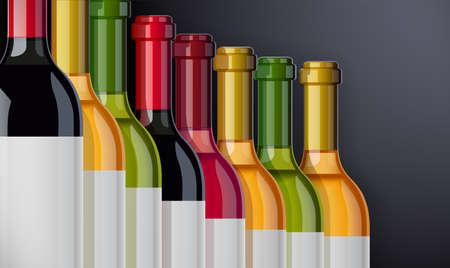 Red, white and rose Wine bottle. Concept design for Wines card in dark background. Drink menu. Bottled alcohol beverage. EPS10 vector illustration. Stock Illustratie