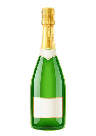 Champagne. Wine bottle. French traditional drink. Isolated white background. EPS10 vector illustration.