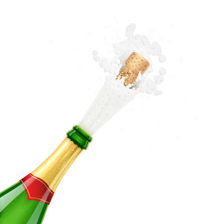 Champagne green bottle. Explode traditional french alcohol drink. Grape wine. Celebration symbol. Holiday tradition. Birthday greetings. Beverage splash. Wooden cork. Isolated white background.